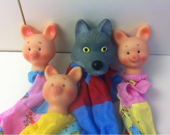 Three Little Pigs And Wolf Hand Puppets Toys / Rubber Pigs and Wolf