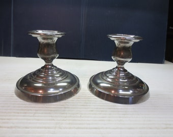 Vintage Pewter Candle Holders, Poole Pewter