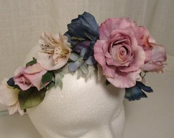lavender and blue silk flower crown