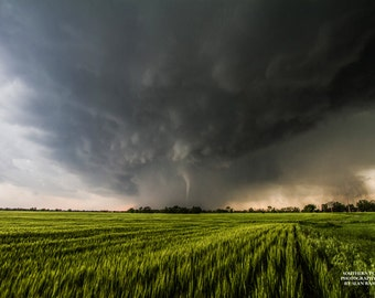 Picture of Tornado, Storm Print, Tornado Print, Kansas Field, Weather Photo, Kansas Tornado, Tornado Art, Perspective Art, Tornado Pic