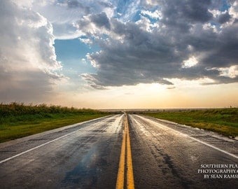 Travel Photography, Road Print, Yellow Lines, Adventure Print, Wet Road, Rain Road, Rain Highway, Oklahoma, Travel Picture, Endless View
