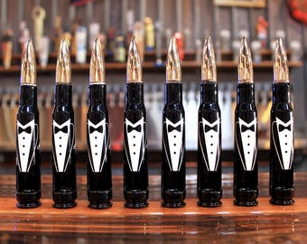 8 Pack of Tuxedo 50 Caliber Bullet Bottle Openers. Wedding Party Gift. Groom Gift. Father of the Bride Gift. Engraved Gifts for Groomsmen.
