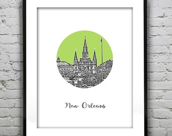 New Orleans Skyline Poster Art Print Jackson Square Louisiana LA Round Version 16