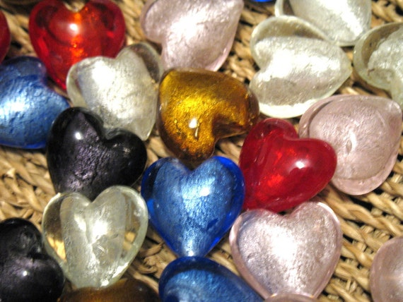 Glass Heart Beads in Red, Blue, Clear, Purple, Pink, and Gold Lined with Silver-Colored Foil, 30 mm Puff Hearts, Sold per pkg of 4.