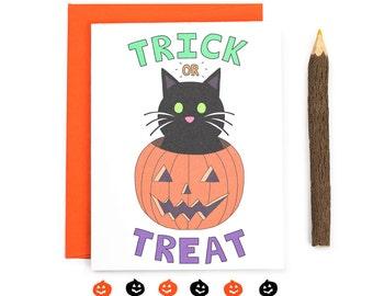 Trick Or Treat Halloween Card - Black Cat Halloween Greeting Card - Cute Halloween Cat Card