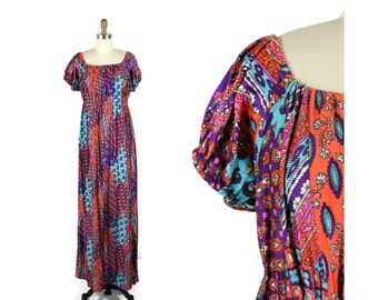 1970s Floral Peasant Maxi Dress / 70s Paisley Blue Maxi Blue and Purple