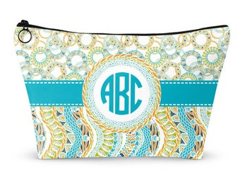 Teal Circles & Stripes Makeup Bags (Personalized)