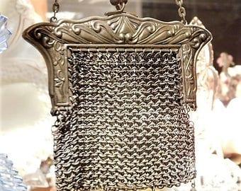 1900s Antique German Silver Purse Art Nouveau Victorian Coin Purse Chain Metal Steel Mesh Chainmaille Handbag Bag Coin Pouch Wedding Bride