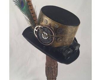 STEAMPUNK TOP HATS, Steampunk Shop, Steampunk Accessories, Tall Top Hat,Black,  Olive, Clock Parts