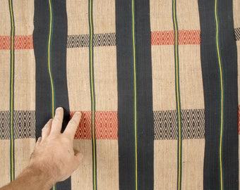 Naga cotton fabric, Naga ethnic boho textile, black beige tan striped handwoven blanket bedspread runner, heavy cotton naga textile. TH7