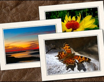 3 Nature Photo Note Cards Handmade - 5x7 Nature Note Card - Blank Note Cards With Envelopes - Photo Greeting Cards Handmade (NA16)