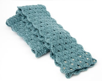 Women's cerulean blue scarf with studs, gift for her, handmade knit merino scarf, skinny scarf, unusual winter scarf, blue scarf
