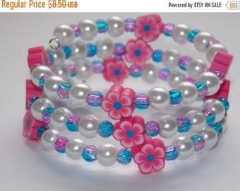 15%OFF Girls Pink Flower White Pearl Wrap Bracelet