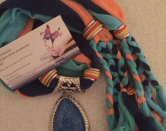 Color Blend Series -Navy Blue/Light Blue/Peach/Braided scarf with blue charm