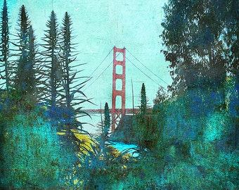 From Marin, turquoise blues and greens, Golden Gate bridge San Francisco colorful fine art home decor print