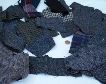 Harris Tweed remnants - scraps - samples - herringbone - tartan - applique - 200g