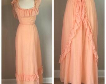 Vintage Peach 70's Prairie Gown Maxi Dress