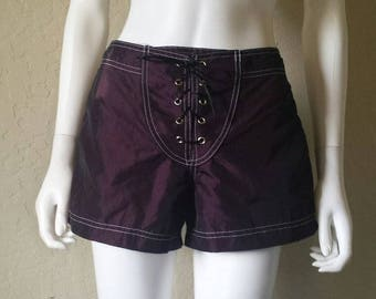 90s lace up purple iridescent board shorts