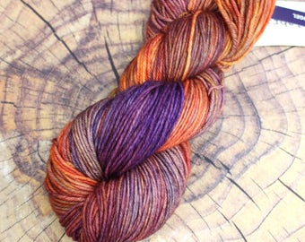 SALE 20% OFF Malabrigo Archangel Blend Merino Wool #850 in Rios worsted weight. Vibrant yarn for knitting and crochet orange and purple
