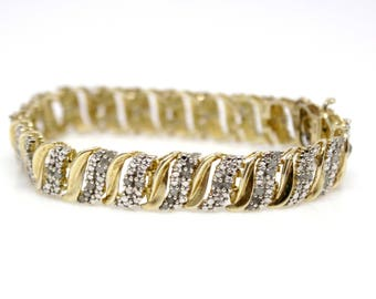 Sterling Silver Gold Plated Bracelet Yellow and White with Small Stones