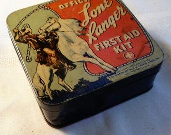 Vintage 1950s Lone Ranger First Aid  Advertising Tin