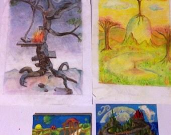 Lot of four old fantasy art landscapes