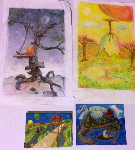 Lot of four old fantasy art landscapes