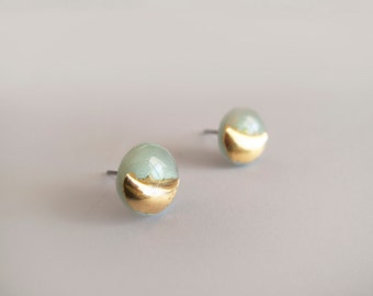 Mint & 23k Gold Round Stud Earrings - Hypoallergenic Titanium Posts
