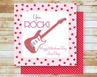 Personalized Valentines/ Girls / Favor & Gift Tags / Pink / You Rock
