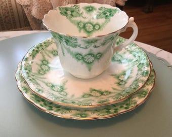 Delicate Green Transferware Trio Set. Teacup Saucer & Underplate or Dessert Plate
