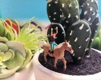 1 miniature  woman riding horseback  perfect for ranch nature horse  terrarium diorama