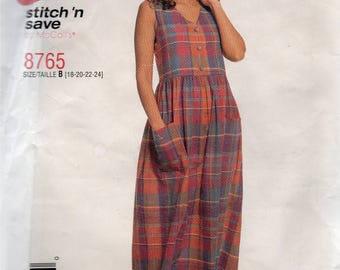 McCall's Stitch 'n Save Pattern 8765 EMPIRE BODICE JUMPERS Misses Sizes 18 20 22 24