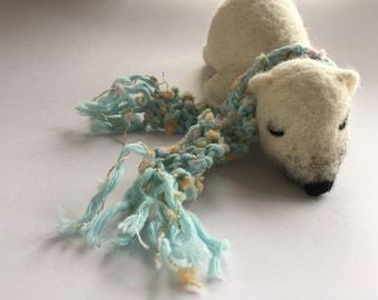 Sleepy Polar Bear - ooak needle felt sculpt