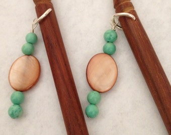 8 inch rosewood ss hair sticks with sterling silver wire wrap shell and Turquoise beads on each hair stick