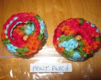 FRUIT PUNCH - Ear Pads-Cushions-Cookies for Phone Headset, Call Center, Hand-crochetted, NEW.