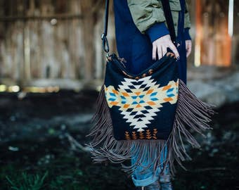 Boho Fringe Crossbody Bag, Fringed Purse, black purse, leather Fringe Bag, Southwestern Crossbody, fringe purse in Pendleton wool