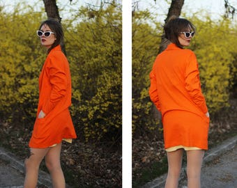 Bright Orange Cotton Oversized 90s Blazer with Pockets and Plunging V Neck