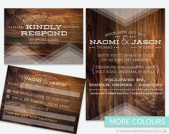 Rosewood Wedding Invitation Sample | More Colours Available | Fully Customisable Wedding Stationery | Geometric | Contemporary | Rustic
