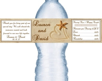 21 Heart In Sand Beach Wedding  Water Labels