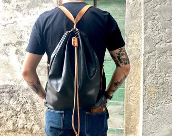 black leather backpack made in Italy (hand made)