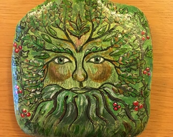 The Green Man acrylic painting on Wharfedale river stone