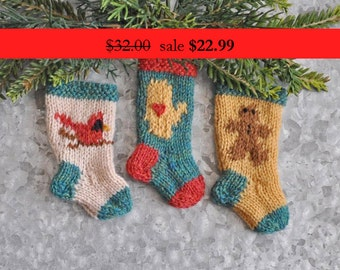 Cardinal, Mitten and Gingerbread Man Hand-Knit Christmas Stocking Ornaments  SALE