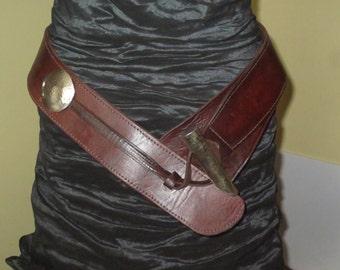 Women's Stunning Wide Dark Brown Leather Hipster Belt , Size Medium Large