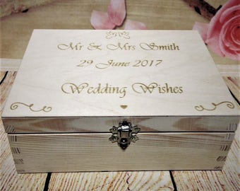 Wedding Guest Book Box Wooden Heart Wishes Bride and Groom Personalised Gift Wishing Well Best Wooden Drop In Box with Clasp