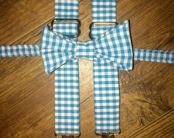 Teal and white gingham plaid bow tie and suspender set/boy, toddler, child outfit, ringbearer, necktie, perfect for pictures and weddings
