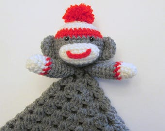 Sock Monkey Lovey PDF Crochet Pattern INSTANT DOWNLOAD
