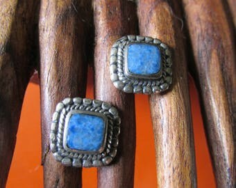 """Silver LAPIS Pierced EARRINGS Measure 1/2"""" Square Marked """"STERLING"""" Hand Made Ladies Collectible Tribal Southwestern Birthday Bridesmaid"""