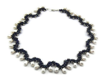 Beaded Necklace - Freshwater Pearl Necklace - Twin Bead Necklace - Seed Bead Necklace - Beadwork Necklace - Beaded Jewelry