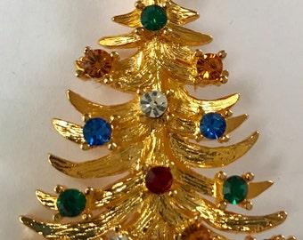 SIGNED Gold Eisenberg Ice Vintage Rhinestones Christmas Tree Brooch Pin