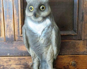 "Vintage ""Victor Co."" owl decoy, paper mache, man cave decor, circa 1940 -  50s,"